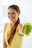 Nutrition. Healthy Eating Woman. Detox Juice. Lifestyle, Vegetar Royalty Free Stock Image