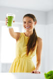 Nutrition. Healthy Eating Woman. Detox Juice. Lifestyle, Vegetar Royalty Free Stock Photo