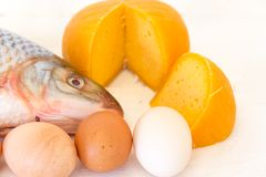 Nutrition healthy  fish eggs and cheese. Nutrition healthy proteins vitamins fish eggs and cheese Stock Photography