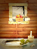 Nutrition Healthy Living, fresh fish and red apples Royalty Free Stock Images