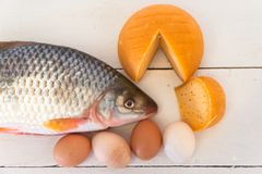 Healthy nutrition fish eggs and cheese. Nutrition healthy proteins vitamins fish eggs and cheesen Stock Photos