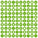 100 nutrition icons hexagon green. 100 nutrition icons set in green hexagon isolated vector illustration Royalty Free Stock Images