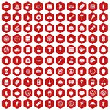 100 nutrition icons hexagon red. 100 nutrition icons set in red hexagon isolated vector illustration Stock Photo