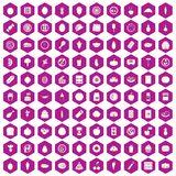 100 nutrition icons hexagon violet. 100 nutrition icons set in violet hexagon isolated vector illustration Vector Illustration
