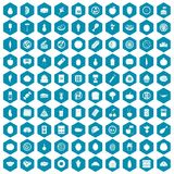 100 nutrition icons sapphirine violet. 100 nutrition icons set in sapphirine hexagon isolated vector illustration stock illustration