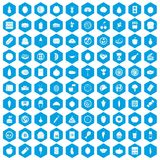 100 nutrition icons set blue. 100 nutrition icons set in blue hexagon isolated vector illustration royalty free illustration