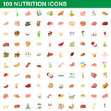 100 nutrition icons set, cartoon style. 100 nutrition icons set in cartoon style for any design vector illustration Royalty Free Stock Images