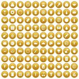 100 nutrition icons set gold. 100 nutrition icons set in gold circle isolated on white vectr illustration Royalty Free Stock Photo