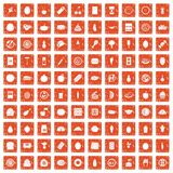 100 nutrition icons set grunge orange. 100 nutrition icons set in grunge style orange color isolated on white background vector illustration Royalty Free Stock Photos