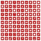 100 nutrition icons set grunge red. 100 nutrition icons set in grunge style red color isolated on white background vector illustration Stock Photos