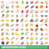 100 nutrition icons set, isometric 3d style. 100 nutrition icons set in isometric 3d style for any design vector illustration Stock Photography