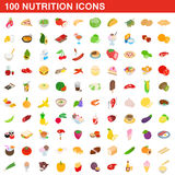 100 nutrition icons set, isometric 3d style. 100 nutrition icons set in isometric 3d style for any design vector illustration Stock Images