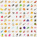 100 nutrition icons set, isometric 3d style Royalty Free Stock Photography