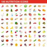 100 nutrition icons set, isometric 3d style. 100 nutrition icons set in isometric 3d style for any design illustration stock illustration