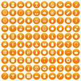 100 nutrition icons set orange. 100 nutrition icons set in orange circle isolated vector illustration Stock Photography