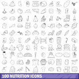 100 nutrition icons set, outline style. 100 nutrition icons set in outline style for any design vector illustration Stock Photos