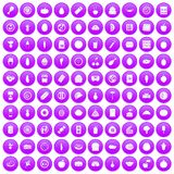 100 nutrition icons set purple. 100 nutrition icons set in purple circle isolated vector illustration Royalty Free Stock Photos