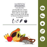 Nutrition infographic food icon. Avocado papaya banana apple orange fish meat chicken nutrition infographic menu food icon. Colorfull and flat illustration Royalty Free Stock Image