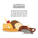 Nutrition infographic food icon. Bread cookie chicken fish nutrition infographic menu food icon. Colorfull and flat illustration Stock Images