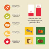 Nutrition infographic food icon. Chicken bread fish pepper nutrition infographic menu food icon. Colorful and flat illustration Stock Photos
