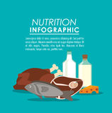 Nutrition infographic food icon. Fish meat chicken nutrition infographic menu food icon. Colorful and flat illustration Stock Photography