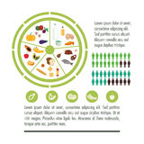 Nutrition infographic food icon. Fruits vegetables meat fish egg bread milk circle nutrition infographic menu food icon. Colorful and flat illustration Royalty Free Stock Image