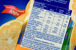 Nutrition information Stock Images
