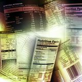Nutrition information. Facts on assorted food labels Stock Photo
