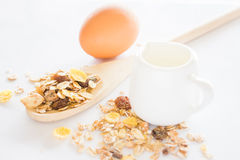 Nutrition ingredient of muesli milk and egg. Stock photo Royalty Free Stock Photos