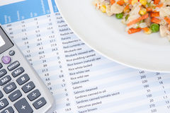 Nutrition intake control. Nutrition control (diet) concept - food, nutrition chart and calculator. Chart with energy, proteins, fats and carbohydrates data Royalty Free Stock Photo