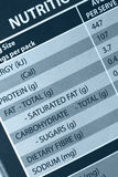 Nutrition Label. In close-up Stock Image