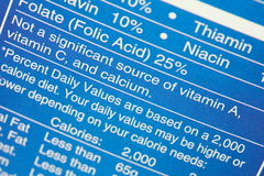 Nutrition Label Stock Photos