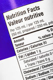 Nutrition Label. Closeup of a nutrition label, showing calories and fat Royalty Free Stock Photo