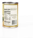 Nutrition labels. Nutritional label on a can of beans - fiber, protein and virtually no fat Royalty Free Stock Photos