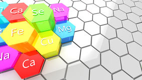Nutrition minerals background. Abstract 3d illustration of nutrition minerals background Stock Photo