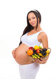 Nutrition of pregnant women. Vitamin fruit basket. Health, beauty, diet Stock Photos