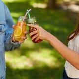 Nutrition saine Amis buvant du thé de detox Photos stock