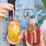 Nutrition saine Amis buvant du thé de detox Images stock