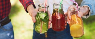 Nutrition saine Amis buvant du thé de detox Photographie stock