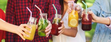 Nutrition saine Amis buvant du thé de detox Image libre de droits