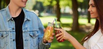 Nutrition saine Amis buvant du thé de detox Photographie stock libre de droits