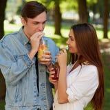 Nutrition saine Thé potable de detox de couples Photo stock