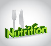 Nutrition sign and utensils. illustration Royalty Free Stock Images