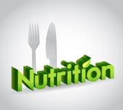 nutrition sign and utensils. illustration royalty free illustration