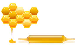 Nutrition supplements honey. Concept of Nutrition supplements based on honey, illustration with honeycells and ampoule of diet supplement royalty free illustration