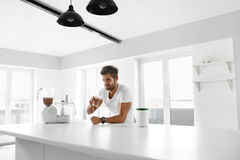 Nutrition Supplements. Man Drinking Protein Shake Before Workout. Nutrition Supplements. Handsome Happy Smiling Man With Muscular Body Drinking Protein Shake stock image