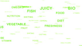 Nutrition Words forming Apple against white, stock footage