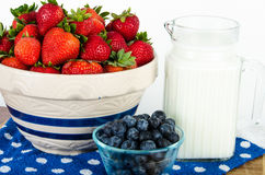Nutritional breakfast of fruit and milk Stock Photos
