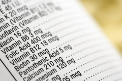 Nutritional Content Label Stock Images