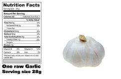 Nutritional facts of Garlic Stock Image